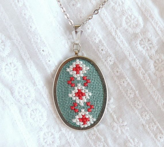 Hand embroidered necklace with ukrainian ornament white and red on green christmasinjuly CIJ. $21.00, via Etsy.