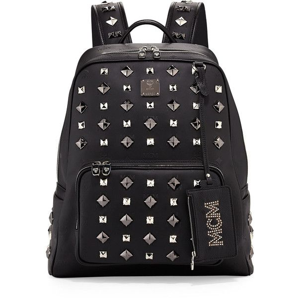 MCM Honshu Tantris Studded Backpack ($1,295) ❤ liked on Polyvore featuring bags, backpacks, mcm, bolsos, mcm bags, top handle bag, studded bag i shoulder strap bag