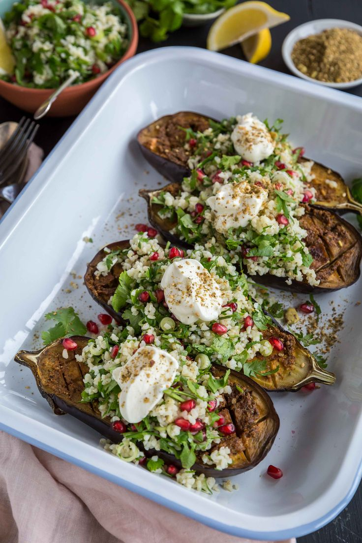 Moroccan Eggplant and Herbed Bulgur Wheat with Dukkah - The Backyard Cook