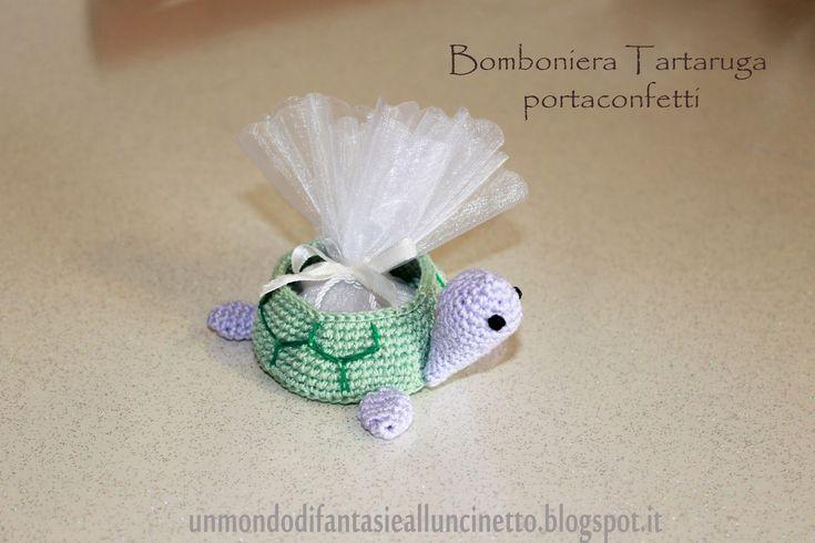 Un Mondo di Fantasie all'Uncinetto di Lisa : Bomboniera tartaruga portaconfetti - Turtle Crochet schema