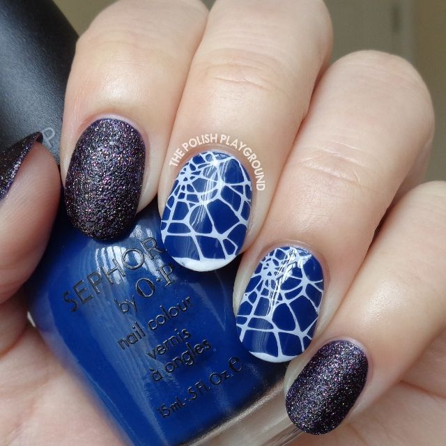Blacken Texture with Halloween Cobweb Stamping