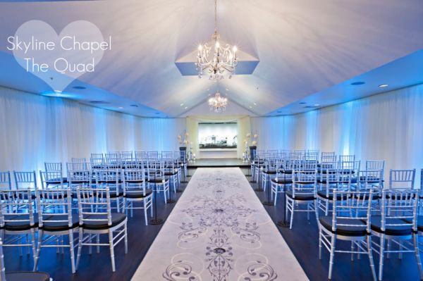 "Skyline Chapel at The Quad is one the venues featured in of ""7 More Modern Vegas Wedding Venues"" Fresh and modern, this venue features custom uplighting packages to transform your ceremony."