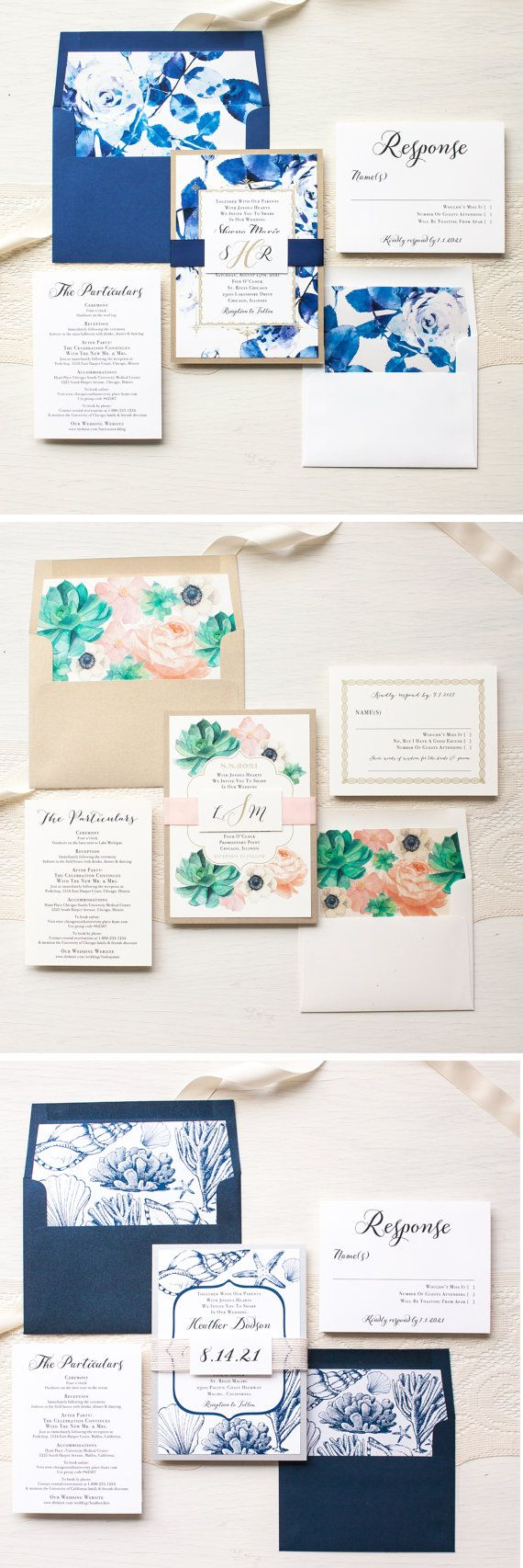 Succulent Wedding Invitations Gold and Blush by