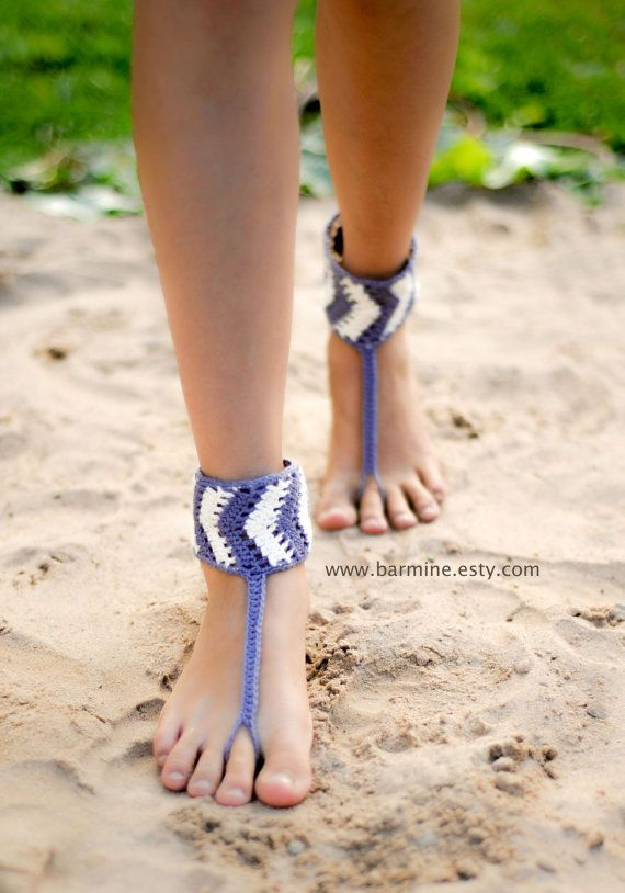 Tribal Barefoot Sandals Chevron stripe Gray and white by barmine