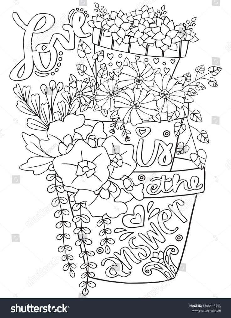 Love Is The Answer Font With Flowerpot And Flowers Element For Valentine S Day Or Greeting Cards Hand Drawn With Inspiration Word หน าส สม ด ระบายส ภาพประกอบ
