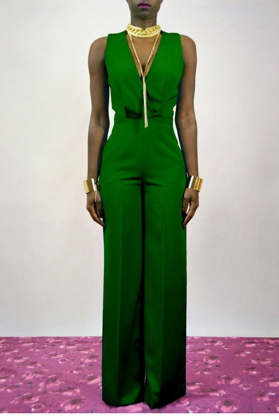 Emerald Green Cross Back Wide Leg Jumpsuit