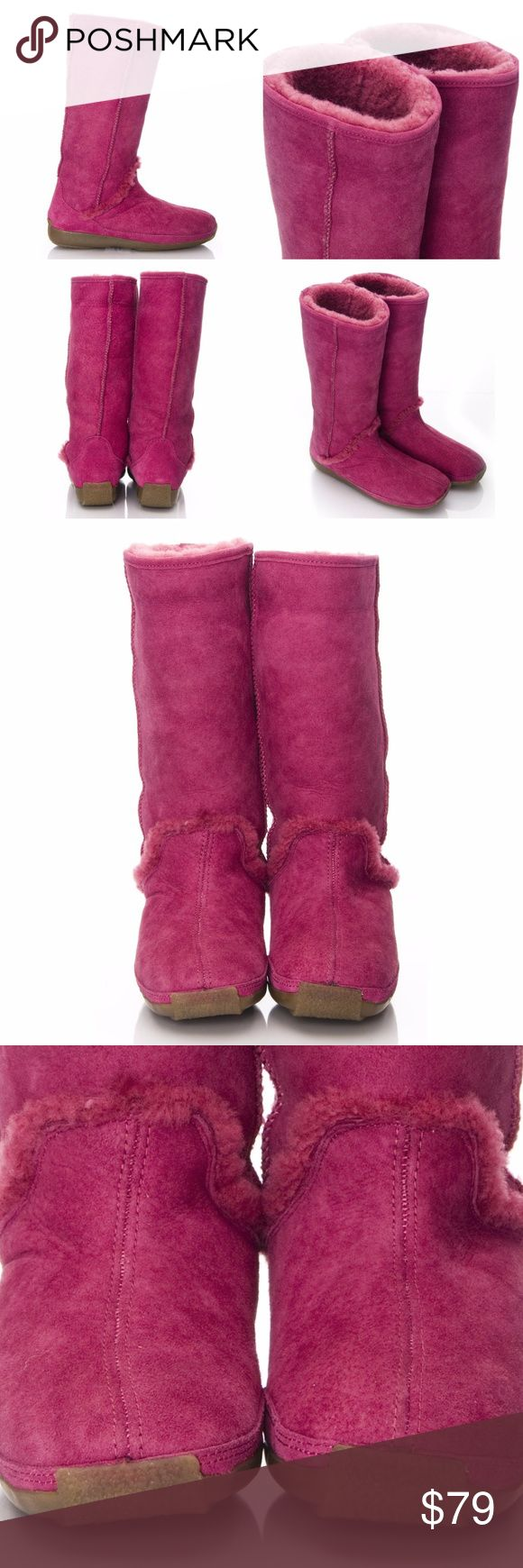 "$189 New Hush Puppies Real Shearling Boots Hush Puppies Shearling Boots  Brand New * Suede Fuchsia Exterior * U.S. Size: 8 * Super Soft Shearling Lining * Waterproof Rubber Soles * Beautiful Color! * 1"" Rubber Heel * Boots Only Hush Puppies Shoes Winter & Rain Boots"