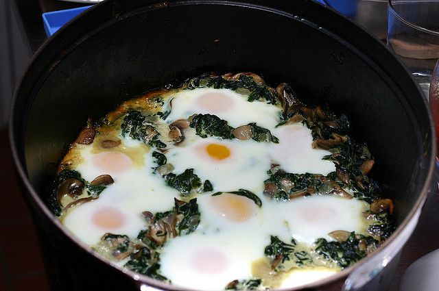 1/27/14 | baked eggs with mushrooms and spinach | smittenkitchen.com