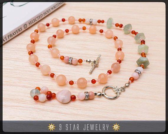 Pink Opal & Aquamarine  wearable bahai prayer beads   - 5x19 Baha'i Prayer Beads