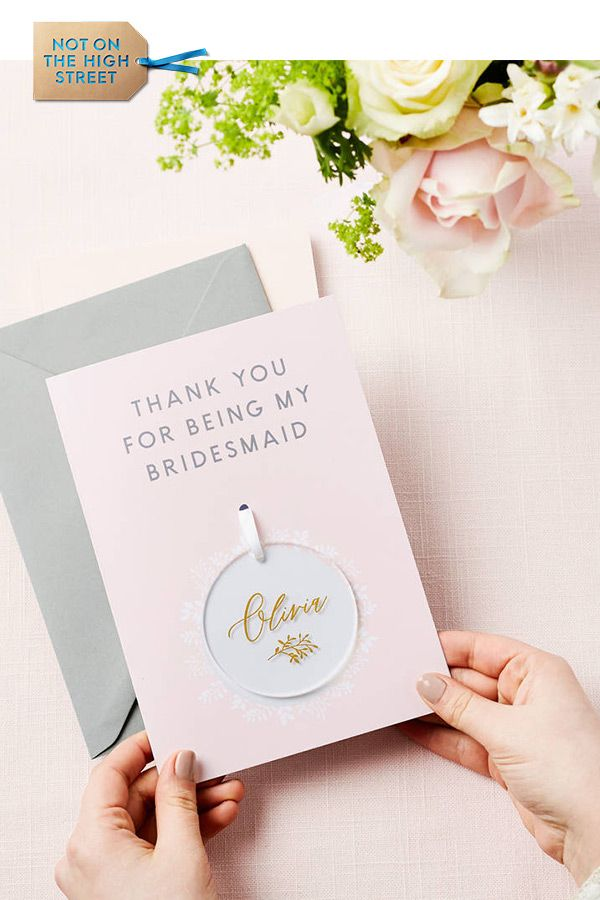 Personalised Bridesmaid Thank You Keepsake Card Wedding Gifts