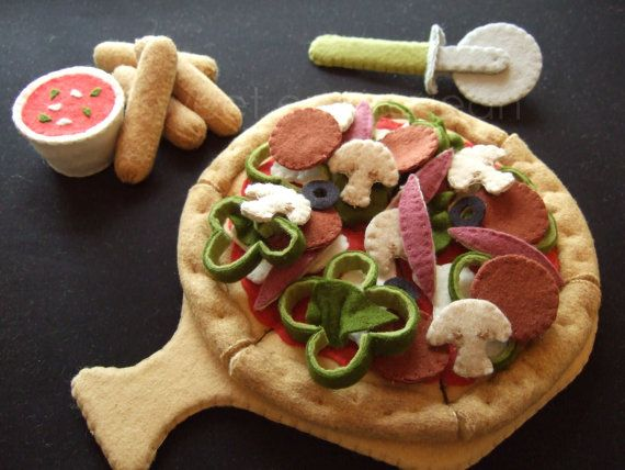 Dibujo de alimentos - fieltro Pizza Party juego - patrón PDF - DIY fieltro juego comida de fieltro