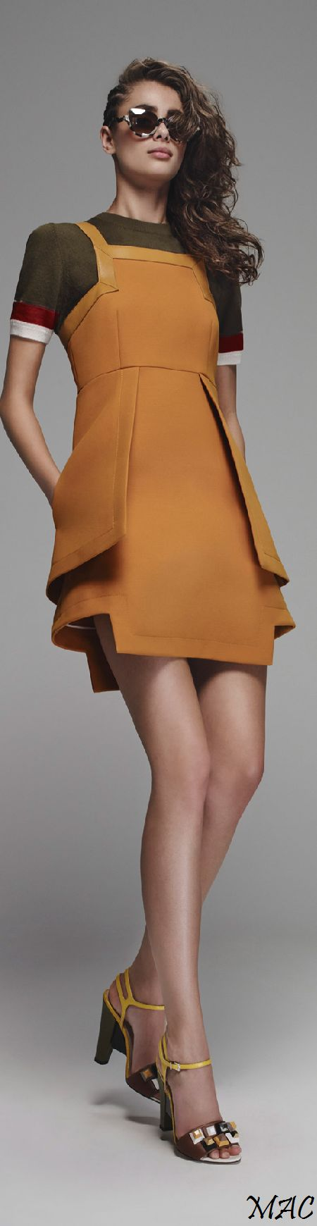 """Fendi, Resort 2016 - If the hemline on this were lengthened .... """"Even the most beautiful legs look better when the kneecap is covered"""" Edith head"""