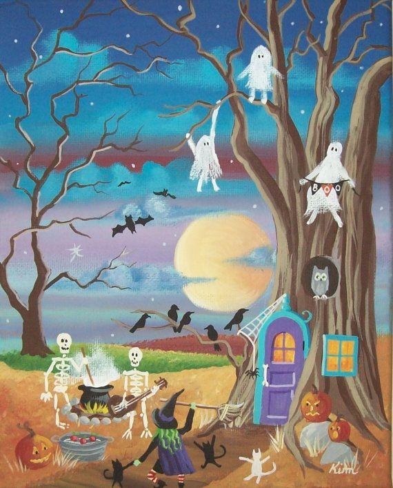 Fiesta de Halloween de impresión de arte popular por KimsCottageArt