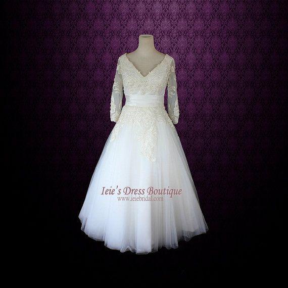 Retro+Wedding+Dress+Tea+Length+Wedding+Dress+Long+Sleeves+by+ieie,+$379.95