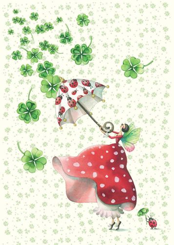 I'm a 1/4  Irish and here's shamrocks with a little fairy.