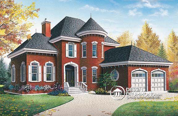 plan de maison unifamiliale w3433 de dessins drummond grande maison avec tourelle et int rieur. Black Bedroom Furniture Sets. Home Design Ideas