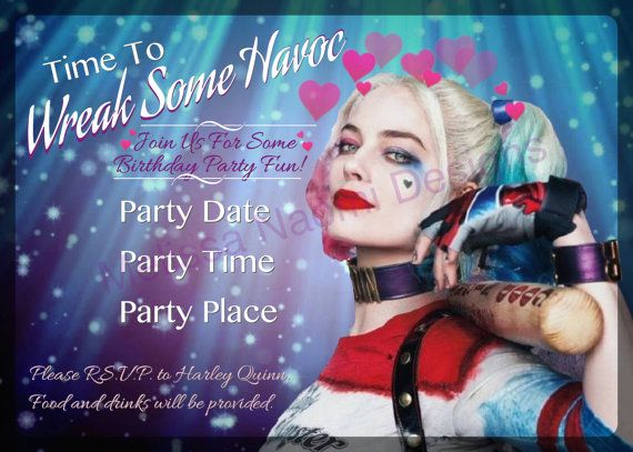 Harley Quinn Party Invitation Digital File By
