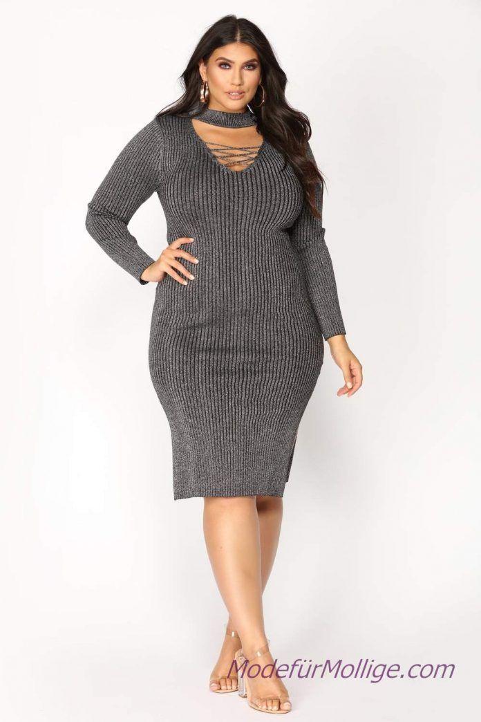 Graues Kurzarmliges Strickkleid 2019 Kleider Fur Mollige Hochzeitsgaste Damenmode Mode Fur Mollige Plus Size Black Dresses Full Figure Fashion Curvy Fashion