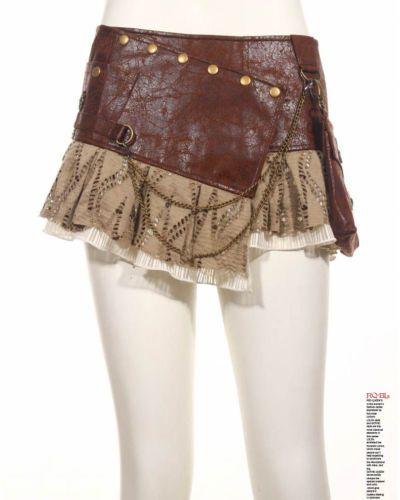 RQ-BL-Rock-Steampunk-Kunst-Leder-Victorian-Vintage-Gothic-Lace-Mini-SP090-Brown