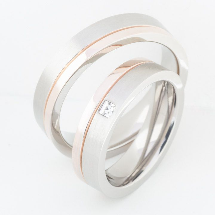 Two Matching Wedding Bands Promise Rings for Him And Her 14K Rose Gold Plated