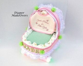 Baby Carriage Diaper Cake  Girl Diaper Cake  by DiaperMakeOvers