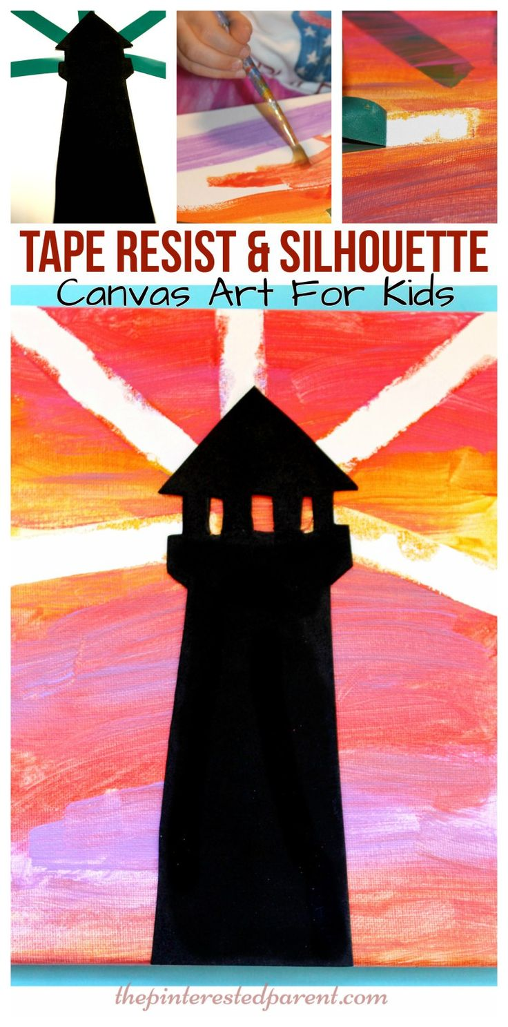 Tape resist and silhouette sunset lighthouse canvas painting with printable template. Arts and craft ideas for kids.