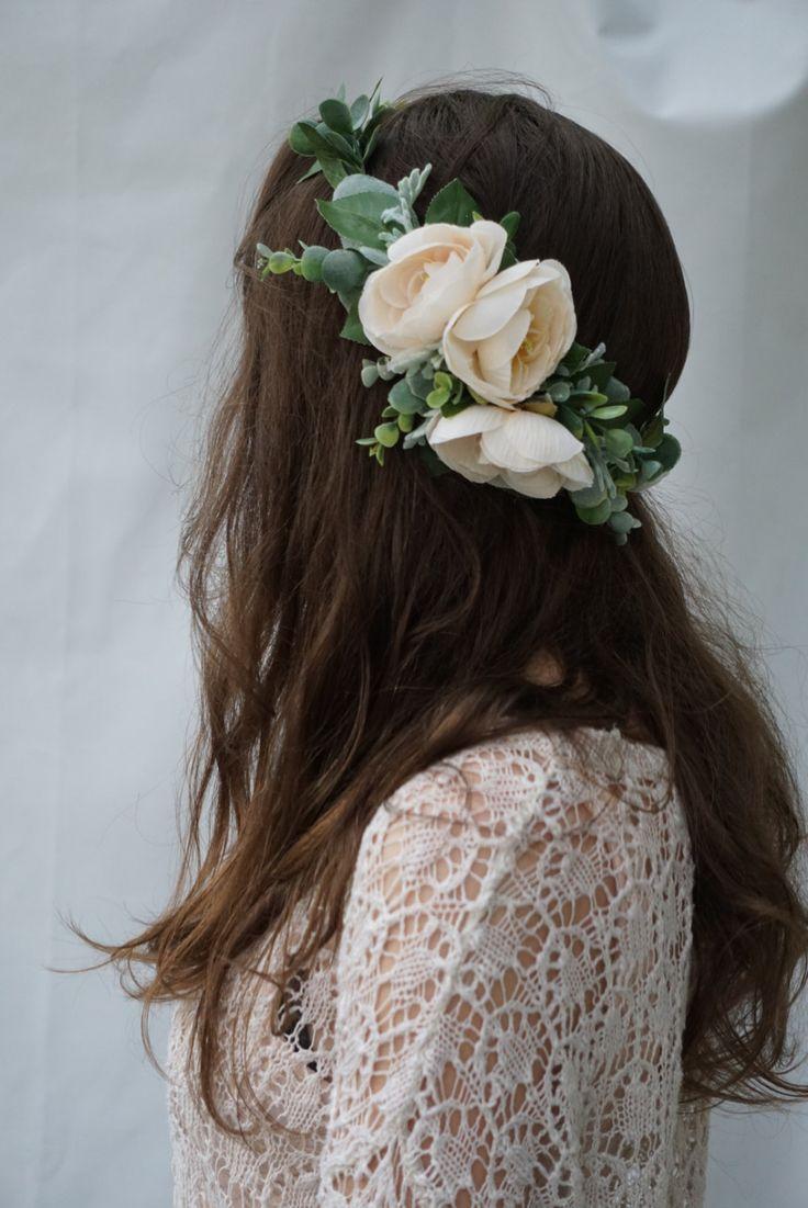 Flower crown, greenery crown, bridal floral headpiece, flower crown wedding, blush flower headband by WelcomingGraceCrafts on Etsy