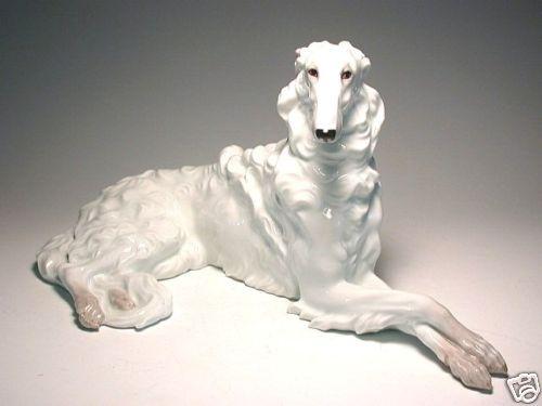 Austrian AUGARTEN white BORZOI,russian wolfhound dog