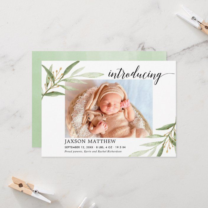 Green Leaves Gender Neutral Birth Announcement Zazzle Com Gender Neutral Birth Announcement Birth Announcement Photos Birth Announcement Card