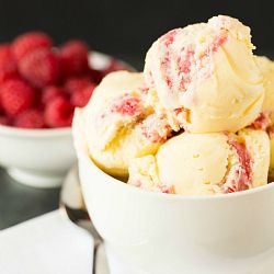 White Chocolate Raspberry Swirl Ice Cream | Brown Eyed Baker