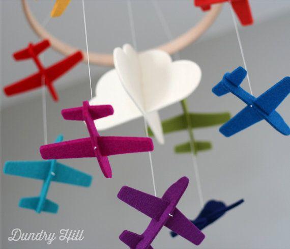 100% Merino Wool Felt Baby Mobile - Eco-Friendly - Rich, Lightfast Colors - Heirloom Quality - Rainbow Planes - Cloud Mobile