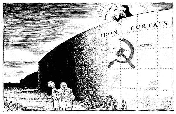 Cold War Propaganda Cartoons | Political Cartoon of the iron curtain