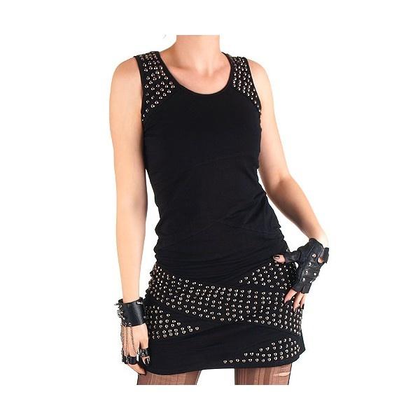 Vestido elástico Tachuelas estilo Punk y Visual