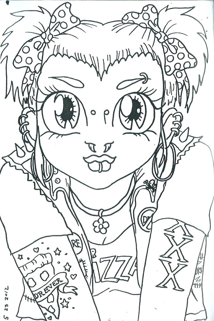 This is an image of Old Fashioned Punk Coloring Pages