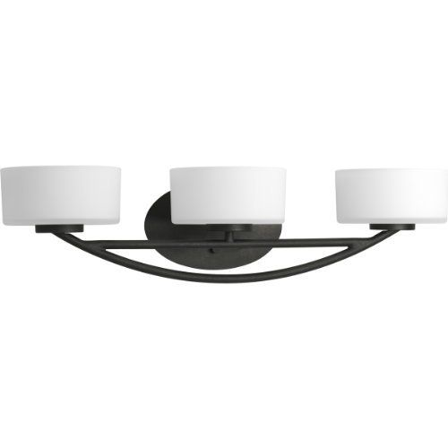 Progress Lighting P3223-80WB Calven Three Light Bath Vanity, Forged Black Finish by Progress Lighting. $155.16. 3-light bath and vanity fixture featuring a sculpted profile, bold expressive curves and opal etched glass shades with Forged Black arms.. Save 43%!