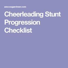 Cheerleading Stunt Progression Checklist