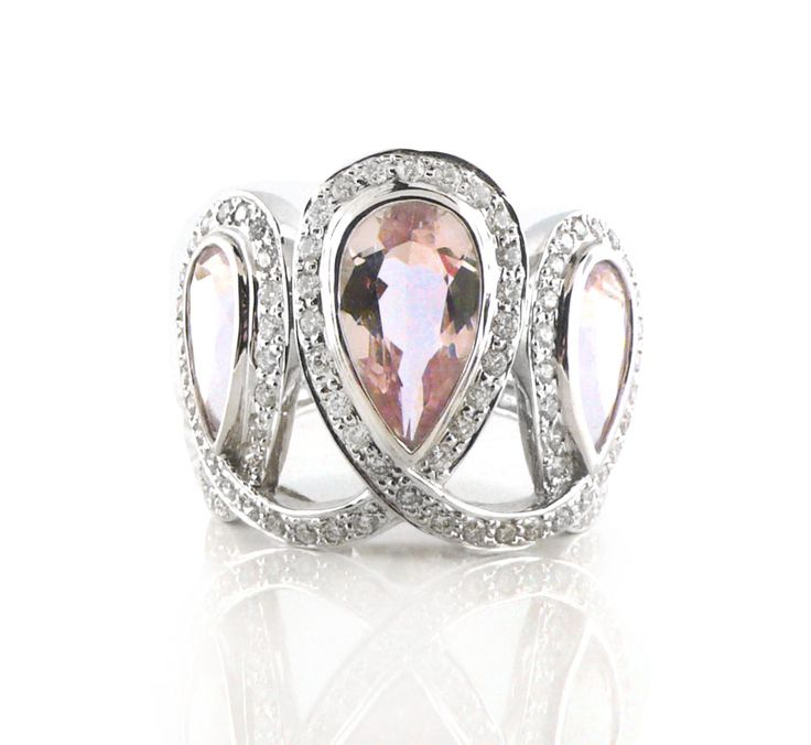 An 18ct White Gold, Diamond and Rose Quartz Dress Ring