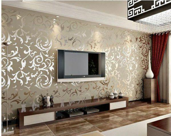 Tapetenmuster wohnzimmer ~ Wanddesign ideen wohnzimmer trends beton raue optik weltkarte