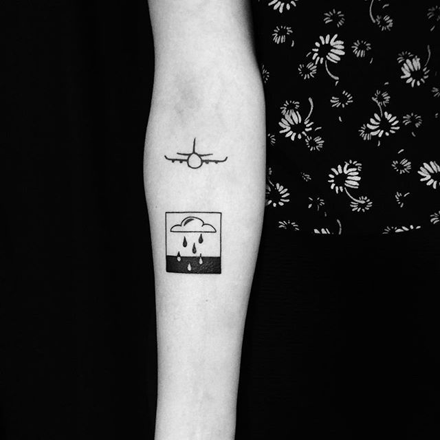Yi Stropky - Could and rain on Kristen:) thank you! (The airplane tattoo is not done by me) done at @blackandbluetattoo