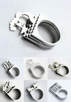 Stapelbare ringen. Leg de lagen anders op elkaar, en je hebt een nieuwe ring.