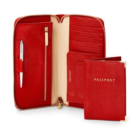 Zipped Travel Wallet with Passport Cover in Berry Lizard from Aspinal of London