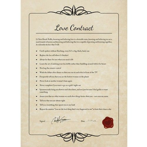 Unframed Love Contract From A Manjpg 500500 Ceremony