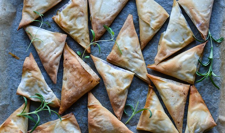 Delicious appetizers or tapas snacks: Filo Bites with Date, Feta Cheese and Almond filling