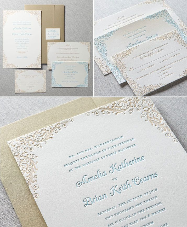184 best weddings invitations images on pinterest wedding robins egg champagne filigree custom letterpress invitations and stationery dauphine press available at stopboris Choice Image