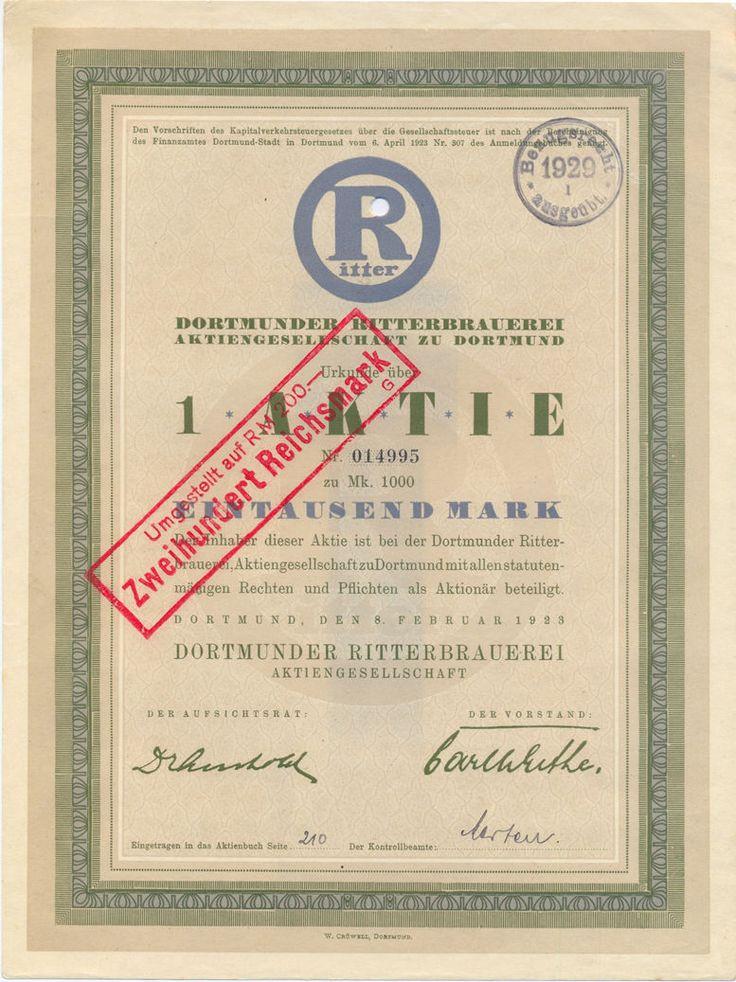 Dortmunder Ritterbrauerei Aktie 1000 Mark 1923
