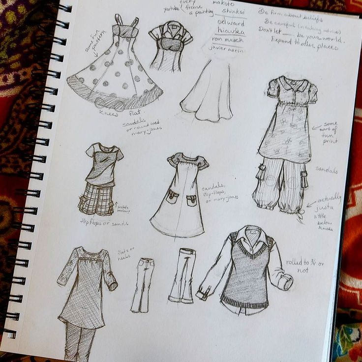 Drawing clothes.... Because it's fun and I had an excuse to just draw clothes. My room-roommate is drawing all of us roommates and she asked me what kind of clothes.... I like clothes. They're fun to draw and design so here's a page of clothing I generally wear or that I would wear.  Actually makes me want to go sew.... ---------------------------------------------------------- Dibujando la ropa....porque es divertido y yo tenía in excuso. Mi compañera de cuarto està dibujando todas Las…
