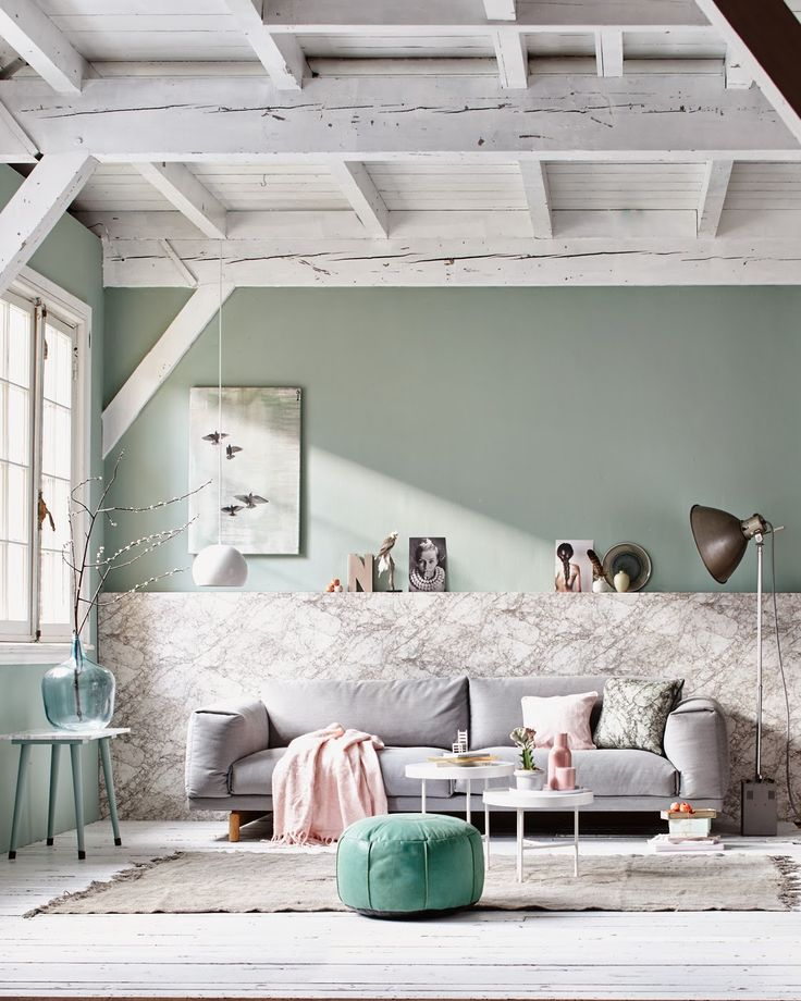 High wood ceiling space and cool colorcombo with accents of lichen teal green and grey ! #interior #home