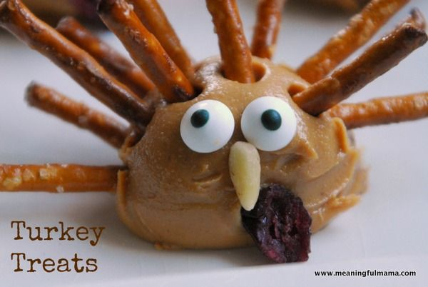 Turkey Treats - Peanut Butter & Pretzel Snack for Thanksgiving by Meaningful Mama