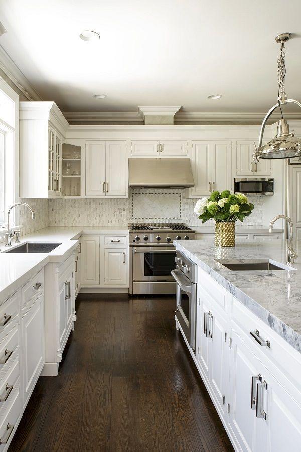 White Kitchen Cabinets Black Island White Countertops Dark Wood Floors Wood Floor Kitchen Home Kitchens Contemporary Kitchen