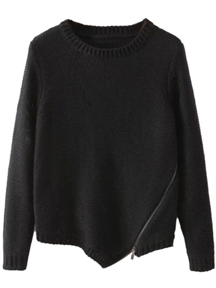 Black Long Sleeve Asymmetrical Zipper Knit Jumper